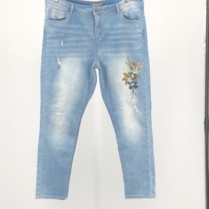Alexander Jordan Embroidered Distressed Jeans